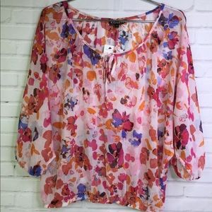 Express Floral Sheer Keyhole Blouse Top Womens M